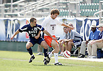 Duke's Danny Kramer (24) and Virginia Tech's Greg Roach (19) on Wednesday, November 9th, 2005 at SAS Stadium in Cary, North Carolina. The Duke University Blue Devils defeated the Virginia Tech Hokies 2-0 during their Atlantic Coast Conference Tournament Quarterfinal game.