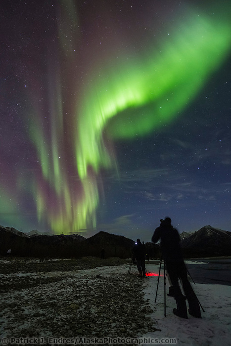 Photographers capture colorful displays of the northern lights in the Brooks Range, Alaska.