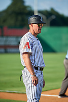 Jackson Generals coach Blake Lalli (11) during a Southern League game against the Mississippi Braves on July 23, 2019 at The Ballpark at Jackson in Jackson, Tennessee.  Jackson defeated Mississippi 2-0 in the first game of a doubleheader.  (Mike Janes/Four Seam Images)