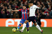 23rd November 2019; Selhurst Park, London, England; English Premier League Football, Crystal Palace versus Liverpool; Roberto Firmino of Liverpool competes for the ball with Joel Ward of Crystal Palace