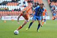 Blackpool's Nick Anderton is fouled by Gillingham's Bradley Garmston<br /> <br /> Photographer Kevin Barnes/CameraSport<br /> <br /> The EFL Sky Bet League One - Blackpool v Gillingham - Saturday 4th May 2019 - Bloomfield Road - Blackpool<br /> <br /> World Copyright © 2019 CameraSport. All rights reserved. 43 Linden Ave. Countesthorpe. Leicester. England. LE8 5PG - Tel: +44 (0) 116 277 4147 - admin@camerasport.com - www.camerasport.com