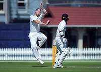 Otago's Michael Rae bowls during day two of the Plunket Shield cricket match between the Wellington Firebirds and Otago Volts at the Basin Reserve in Wellington, New Zealand on Tuesday, 22 October 2019. Photo: Dave Lintott / lintottphoto.co.nz