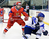 Pavel Zotov (Russia - 16), Joni Karjalainen (Finland - 13) - Russia defeated Finland 4-0 at the Urban Plains Center in Fargo, North Dakota, on Friday, April 17, 2009, in their semi-final match during the 2009 World Under 18 Championship.