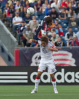 New England Revolution defender AJ Soares (5) goes high for a head ball. DC United forward Josh Wolff (16). In a Major League Soccer (MLS) match, DC United defeated the New England Revolution, 2-1, at Gillette Stadium on April 14, 2012.