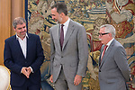 King Felipe VI of Spain receive in Royal Audience to Secretary General of CCOO, Unai Sordo Calvo (L) and previous Secretary General of CCOO, Ignacio Fernandez Toxo (R) at Zarzuela Palace in Madrid, July 24, 2017. Spain.<br /> (ALTERPHOTOS/BorjaB.Hojas)