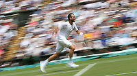 Adrian Mannarino (FRA) during his match against Roger Federer (SUI) in their Men's Singles Fourth Round match<br /> <br /> Photographer Rob Newell/CameraSport<br /> <br /> Wimbledon Lawn Tennis Championships - Day 6 - Saturday 7th July 2018 -  All England Lawn Tennis and Croquet Club - Wimbledon - London - England<br /> <br /> World Copyright &not;&copy; 2017 CameraSport. All rights reserved. 43 Linden Ave. Countesthorpe. Leicester. England. LE8 5PG - Tel: +44 (0) 116 277 4147 - admin@camerasport.com - www.camerasport.com