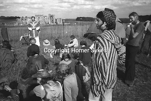 .Christian service at the 1976, Free festival at Stonehenge Summer Solstice during the summer solstice...
