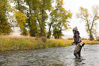 Erin McCleary fishes a small stream south of Butte, Montana.