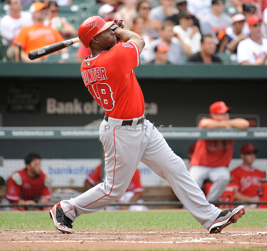 TORII HUNTER, of the Los Angeles Angels, in action during the Angels game against the Baltimore Orioles on July 24,2011 at Oriole Park in Baltimore, Maryland. The Angels beat the Orioles 9-3.