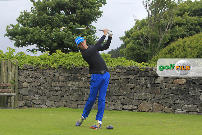 Calum Spicer (Dromoland) on the 1st tee during R2 of the 2016 Connacht U18 Boys Open, played at Galway Golf Club, Galway, Galway, Ireland. 06/07/2016. <br /> Picture: Thos Caffrey | Golffile<br /> <br /> All photos usage must carry mandatory copyright credit   (&copy; Golffile | Thos Caffrey)