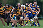 Siua Pole charges towards Liam Daniela. Counties Manukau Premier Club Rugby game between Patumahoe & Bombay, played at Patumahoe on Saturday June 18th 2016. Patumahoe won the game 27 - 15 after leading 9 - 3 at halftime. Photo by Richard Spranger.