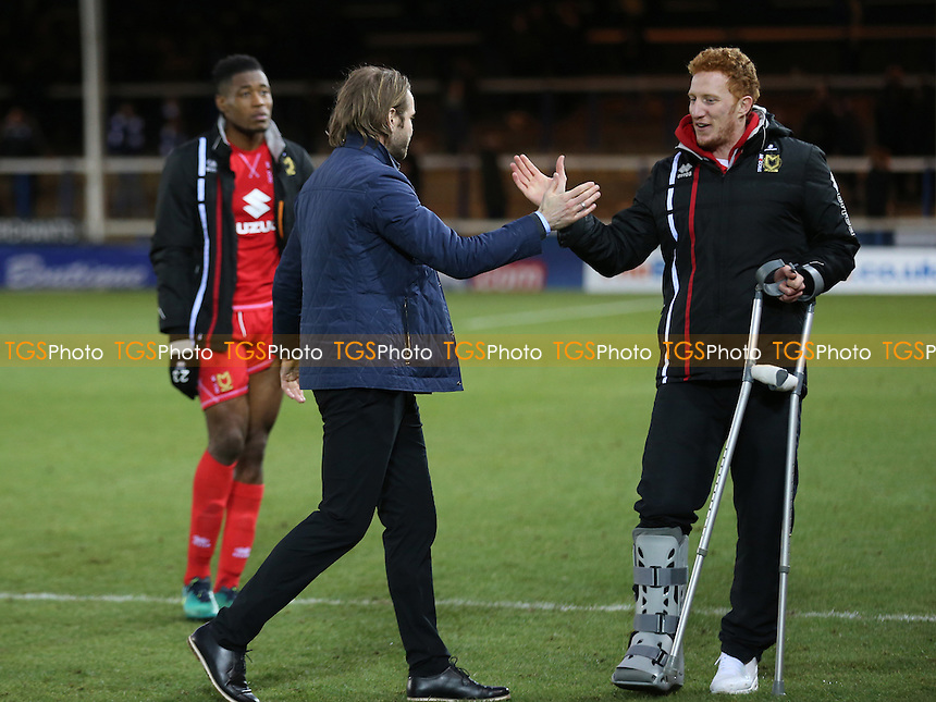 MK Dons Manager, Robbie Neilson, and Dean Lewington at the final whistle during Peterborough United vs MK Dons, Sky Bet EFL League 1 Football at London Road on 28th January 2017