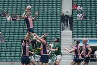 Twickenham, Lancashire, 27th May 2018. Bill Beaumont Division 1 Final, Tom McCROME, redirects the line out ball, during the Lancashire vs Hertfordshire,  rugby match at the  RFU. Stadium, Twickenham. UK.  <br /> <br /> &copy; Peter Spurrier/Alamy Live News