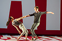London, UK. 01.10.2013. LA Dance Project come to Sadler's Wells with a mixed bill from Benjamin Millepied, the company's founder, Peck and Forsythe. This piece is REFLECTIONS by Benjamin Millepied. Dancers are: Julia Eichten, Charlie Hodges, Morgan Lugo, Nathan Makolandra and Amanda Wells. Picture shows: Amanda Wells and Nathan Makolandra. Photograph © Jane Hobson.
