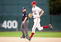 STANFORD, CA - March 27, 2011: Scott Snodgress of Stanford baseball runs to the mound from the bullpen during Stanford's game against Long Beach State at Sunken Diamond. Stanford won 6-5.