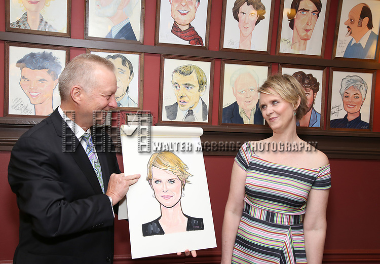 Max Klimavicius and Cynthia Nixon attend the portrait unveilings of Laura Linney and Cynthia Nixon starring on Broadway in the Manhattan Theatre Club's THE LITTLE FOXES, at Sardi's on June 29, 2017 in New York City.