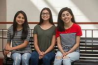 NWA Democrat-Gazette/ANTHONY REYES @NWATONYR<br /> Springdale High School seniors (from left) Stephanie Trejo Corona, Diana Lobaton, and Carol Medina, at their school Wednesday, May 17, 2017 in Springdale. The seniors were accepted into the QuestBridge program and received scholarships for college. Medina will attend University of Southern California, Trejo Carona will attend Rice University and Lobaton will attend Emory University.