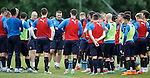 Mark Warburton calls the players back in for a discussion
