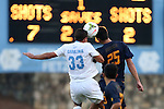 29 August 2014: North Carolina's Raby George (SWE) (33) and Cal's Stefano Bonomo (25) challenge for a header. The University of North Carolina Tar Heels hosted the University of California Bears at Fetzer Field in Chapel Hill, NC in a 2014 NCAA Division I Men's Soccer match. North Carolina won the game 3-1.