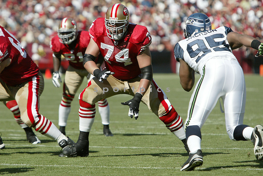 JOE STALEY, of the San Francisco 49ers, in action against the Seattle Seahawks during the 49ers game in San Francisco,CA on October 26, 2008. ..Seahawks  win 34-13