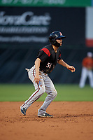 Richmond Flying Squirrels Peter Maris (56) leads off second base during an Eastern League game against the Bowie Baysox on August 15, 2019 at Prince George's Stadium in Bowie, Maryland.  Bowie defeated Richmond 4-3.  (Mike Janes/Four Seam Images)