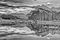 Mt. Rundle reflected in Vermillion Lakes<br />Banff National Park<br />Alberta<br />Canada