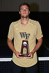 Borna Gojo of the Wake Forest Demon Deacons poses for a photo with his National Runner-up trophy following the finals of the 2018 NCAA Men's Tennis Singles Championship at the Wake Forest Indoor Tennis Center on May 28, 2018 in Winston-Salem, North Carolina.  Petros Chrysochos defeated teammate Borna Gojo 6-3 6-3.  (Brian Westerholt/Sports On Film)
