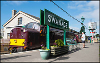 BNPS.co.uk (01202 558833)<br /> Pic: TomWren/BNPS<br /> <br /> 1st mainline train in 45 years pulls out of Swanage today...<br /> <br /> A plucky seaside railway that refused to die is finally rejoing the rail network today after a 45 year fight to reverse the Beeching axe.<br /> <br /> At 10.23 sharp a train will once again leave Swanage in Dorset to rejoin the main network at Wareham, thanks to an army of volunteers who have spent 45 years painstakingly rebuilding their line. 