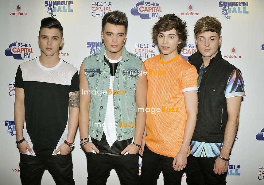 UNION J. with ; Jaymi Hensley, George Shelley, JJ Hamblett and Josh Cuthbert at the 2013. Capital FM's Summertime Ball held at Wembley Stadium, London, on June 9, 2013.