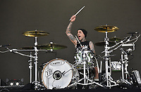 SAN FRANCISCO, CALIFORNIA - AUGUST 09: Blink 182 - Travis Barker performs during the 2019 Outside Lands music festival at Golden Gate Park on August 09, 2019 in San Francisco, California. Photo: imageSPACE/MediaPunch<br /> CAP/MPI/ISAB<br /> ©ISAB/MPI/Capital Pictures