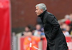 Manchester United's Jose Mourinho spits out his drink during the premier league match at the Britannia Stadium, Stoke on Trent. Picture date 9th September 2017. Picture credit should read: David Klein/Sportimage