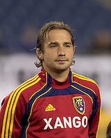 Real Salt Lake midfielder Ned Grabavoy (20). In a Major League Soccer (MLS) match, Real Salt Lake defeated the New England Revolution, 2-0, at Gillette Stadium on April 9, 2011.