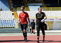 20180228 - LARNACA , CYPRUS :  Belgian goalkeeper coach Sven Cnudde (left) pictured with Justien Odeurs during a women's soccer game between The Belgian Red Flames and the Czech Republic , on wednesday 28 February 2018 at GSZ Stadium in Larnaca , Cyprus . This is the first game in group B for Belgium during the Cyprus Womens Cup , a prestigious women soccer tournament as a preparation on the World Cup 2019 qualification duels. PHOTO SPORTPIX.BE | DAVID CATRY