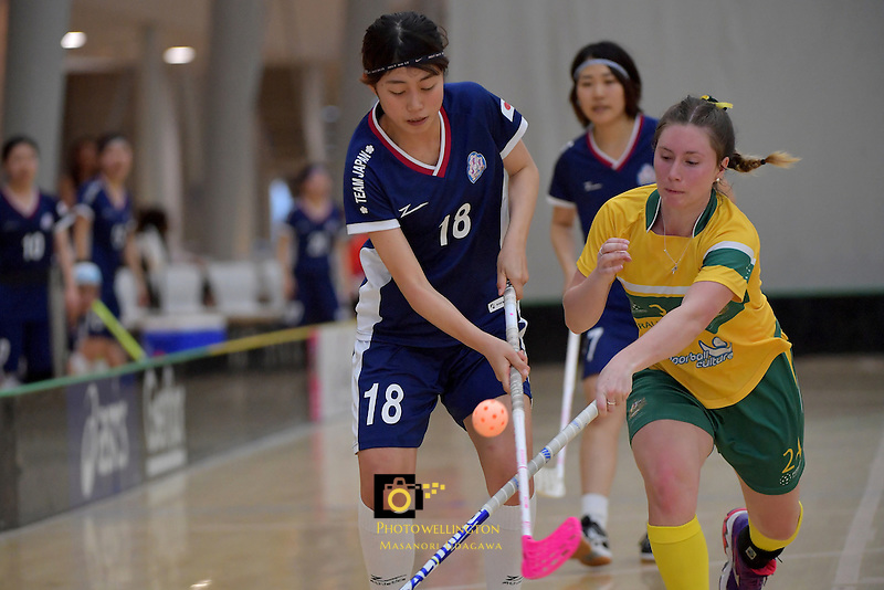 Japan's Riko Iwasaki and Australia's Alexandra Staib in action during the World Floorball Championships 2017 Qualification for Asia Oceania Region Final - Australia v Japan at ASB Sports Centre , Wellington, New Zealand on Sunday 5 February 2017.<br /> Photo by Masanori Udagawa<br /> www.photowellington.photoshelter.com.
