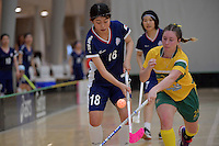 Japan&rsquo;s Riko Iwasaki and Australia&rsquo;s Alexandra Staib in action during the World Floorball Championships 2017 Qualification for Asia Oceania Region Final - Australia v Japan at ASB Sports Centre , Wellington, New Zealand on Sunday 5 February 2017.<br /> Photo by Masanori Udagawa<br /> www.photowellington.photoshelter.com.