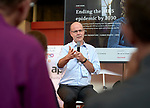 Tim Martineau, acting executive director of UNAIDS, speaks to a July 26 seminar in the Global Village of the 2018 International AIDS Conference in Amsterdam, Netherlands. The presentation was co-sponsored by the World Council of Churches Ecumenical Advocacy Alliance.