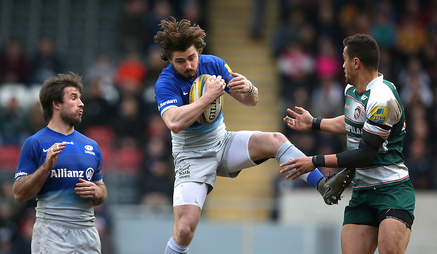 Saracens' Ben Ransom catches a high ball under pressure from Leicester Tigers' Peter Betham<br /> <br /> Photographer Stephen White/CameraSport<br /> <br /> Rugby Union - Aviva Premiership Round 17 - Leicester Tigers v Saracens - Sunday 20th March 2016 - Welford Road - Leicester <br /> <br /> &copy; CameraSport - 43 Linden Ave. Countesthorpe. Leicester. England. LE8 5PG - Tel: +44 (0) 116 277 4147 - admin@camerasport.com - www.camerasport.com