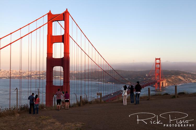 Golden Gate Bridge at dusk viewed from the Marin Headlands.