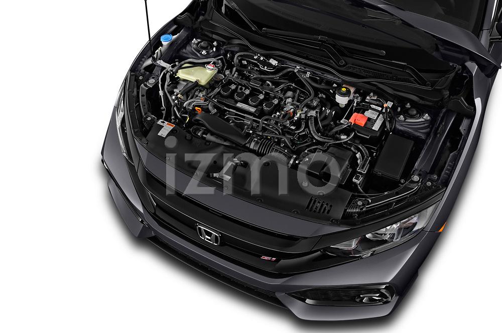 Car stock 2018 Honda Civic Si 5 Door Sedan engine high angle detail view