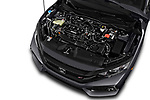 Car stock 2017 Honda Civic Si 5 Door Sedan engine high angle detail view