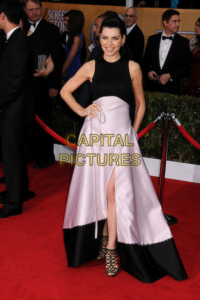 Julianna Margulies.Arrivals at the 19th Annual Screen Actors Guild Awards at the Shrine Auditorium in Los Angeles, California, USA..27th January 2013.SAG SAGs full length black white sleeveless pink skirt slit split strappy sandals hand on hip .CAP/ADM/BP.©Byron Purvis/AdMedia/Capital Pictures