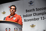 HOLLYWOOD, FL - SEPTEMBER 18: U.S. team player Oscar Gil attends Beach Soccer U.S. Indoor Championships Press Conference at Paradise Live! at Seminole Hard Rock Hotel & Casino on September 18, 2012 in Hollywood, Florida.  to announce six teams from Brazil, Colombia, Mexico, Spain, Venezuela and the United States will compete in the Beach Soccer U.S. Indoor Championships from November 13th -17th at the Hard Rock Live! in the Seminole Hard Rock Hotel & Casino.(Photo by Johnny Louis/jlnphotography.com)