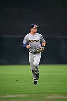 Trenton Thunder center fielder Trey Amburgey (14) jogs off the field during the first game of a doubleheader against the Bowie Baysox on June 13, 2018 at Prince George's Stadium in Bowie, Maryland.  Trenton defeated Bowie 4-3.  (Mike Janes/Four Seam Images)