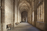 Cloister, 15th century, remnant of the earlier cathedral, designed by Juan Guas, Segovia Cathedral, (Catedral de Segovia, Catedral de Santa Maria), 1525-77, by Juan Gil de Hontanon (1480-1526), and continued by his son Rodrigo Gil de Hontanon (1500-1577), Segovia, Castile and Leon, Spain. Last Gothic Cathedral in Spain, commissioned by Carlos V (1500-58), after an earlier cathedral was damaged in the Revolt of the Comuneros, 1520. Juan and Rodrigo Gil de Hontanon are buried beneath the cloister. Picture by Manuel Cohen