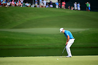 Zach Johnson (USA) watches his putt on 17 during Saturday's round 3 of the PGA Championship at the Quail Hollow Club in Charlotte, North Carolina. 8/12/2017.<br /> Picture: Golffile | Ken Murray<br /> <br /> <br /> All photo usage must carry mandatory copyright credit (&copy; Golffile | Ken Murray)