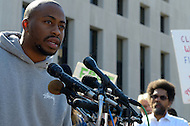 October 17, 2011  (Washington, DC)  R&B singer Raheem DeVaughn speaks at a press conference after his appearance before a judge at the DC Superior Court.  DeVaughn and 16 others, including Dr. Cornel West (right) and participants in Occupy DC as well as members of October2011, were arrested for protesting on the grounds of the US Supreme Court on October 16, 2011, the day of the MLK Memorial Dedication.    (Photo by Don Baxter/Media Images International)