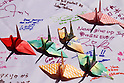 Paper Cranes & messages for Japan, MARCH 29, 2011 - Golf: Paper Cranes and warming messages are shown in dedication to the victims of the 2011 Tohoku earthquake and tsunami at the LPGA Golfres' charity activity during the Kraft Nabisco Championship at Mission Hills Country Club in Rancho Mirage, California, USA. (Photo by Yasuhiro JJ Tanabe/AFLO)