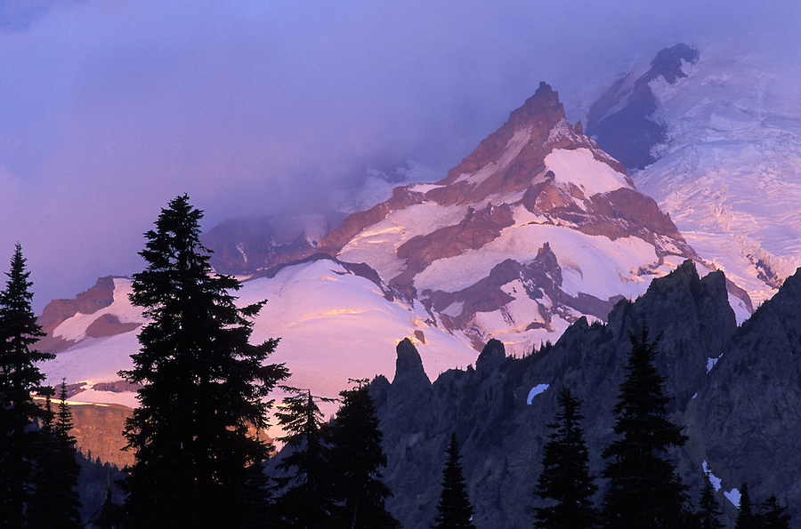 Sunrise on Little Tahoma Peak, Mount Rainier National Park, Washington