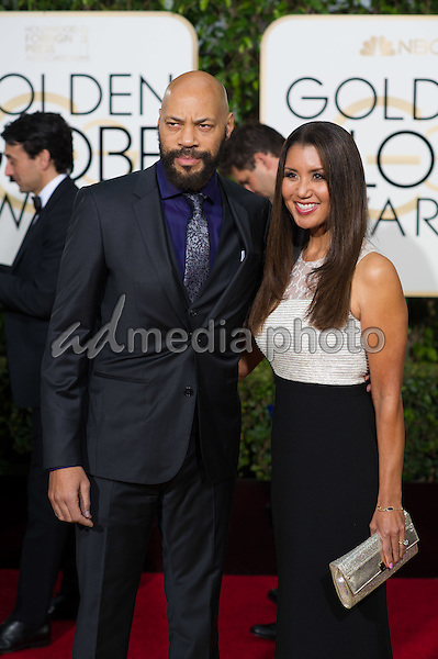 "John Ridley, Executive Producer for the Golden Globe Nominated ""American Crime"" in the category of BEST TELEVISION LIMITED SERIES OR MOTION PICTURE MADE FOR TELEVISION,  and guest arrive at the 73rd Annual Golden Globe Awards at the Beverly Hilton in Beverly Hills, CA on Sunday, January 10, 2016. Photo Credit: HFPA/AdMedia"