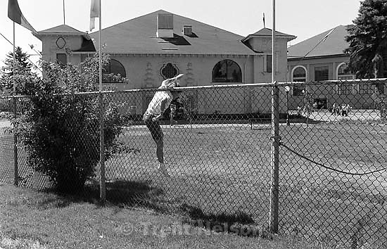 Edie Quayle Zambrano jumps the fence to sneak into the Utah State Fair.<br />